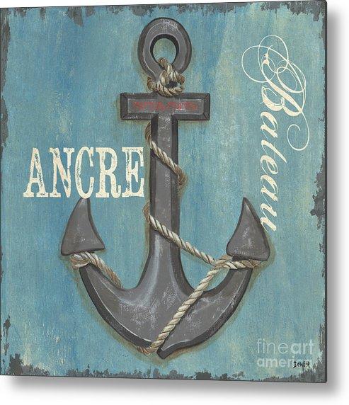 Coastal Metal Print featuring the painting La Mer Ancre by Debbie DeWitt