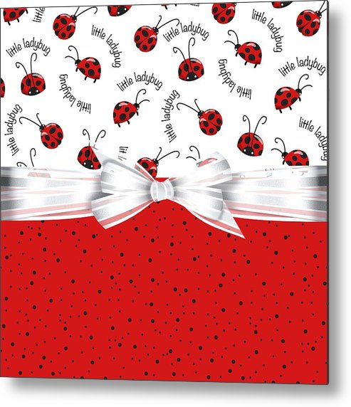 Ladybugs Metal Print featuring the digital art Ladybug Red And White by Debra Miller