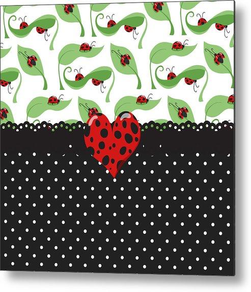 Heart Metal Print featuring the digital art Ladybug Special by Debra Miller