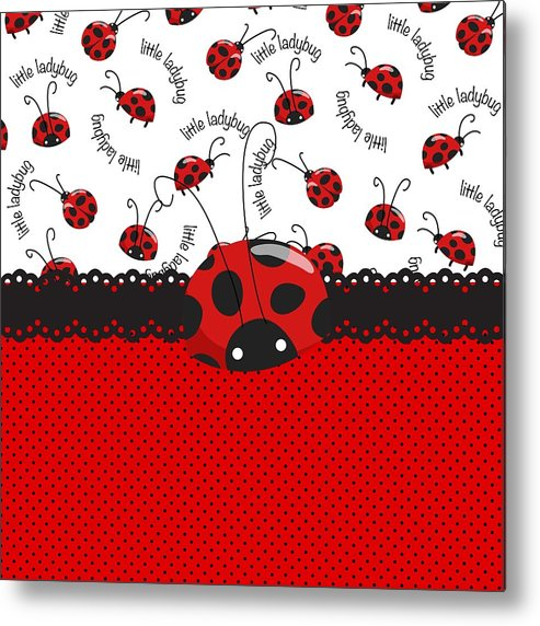 Polka Dots Metal Print featuring the digital art Ladybug Sweet Surprises by Debra Miller