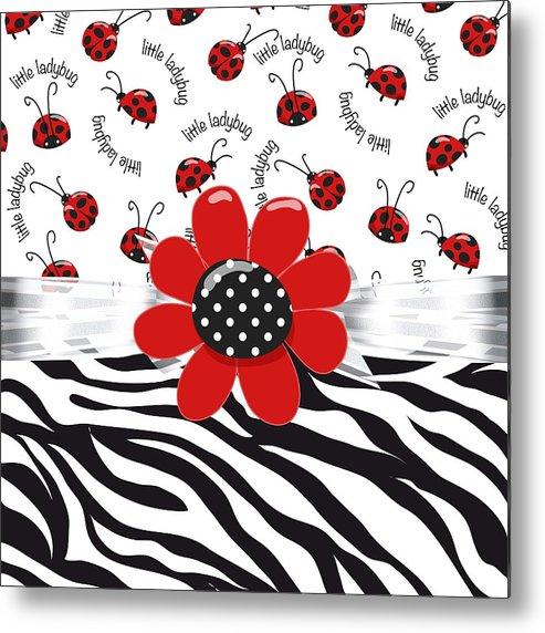Leopard Print Metal Print featuring the digital art Ladybug Wild Thing by Debra Miller