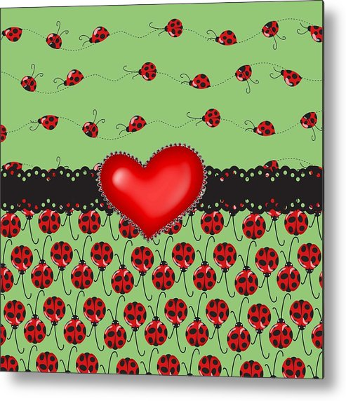 Red Heart Metal Print featuring the digital art Ladybugs Hearts Desires by Debra Miller