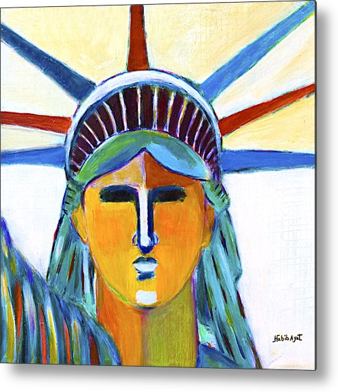Nyc Metal Print featuring the painting Liberty In Colors by Habib Ayat