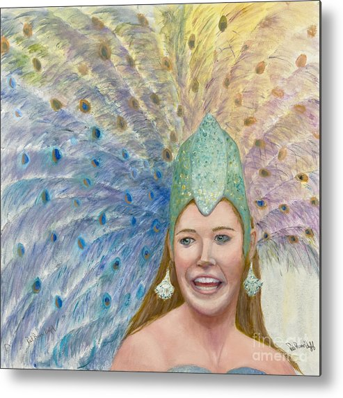 Peacock Headress Metal Print featuring the painting Lindsay Carnival Queen by Patricia Huff
