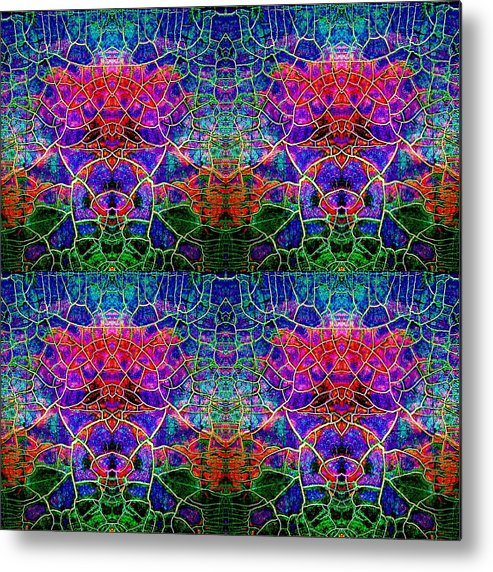 Abstract Metal Print featuring the painting Little Green Men by Carolyn Repka