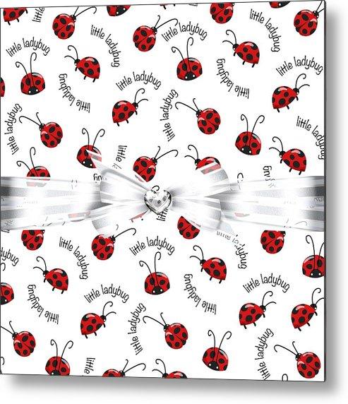 White Ribbon Metal Print featuring the digital art Little Ladybug Treats by Debra Miller