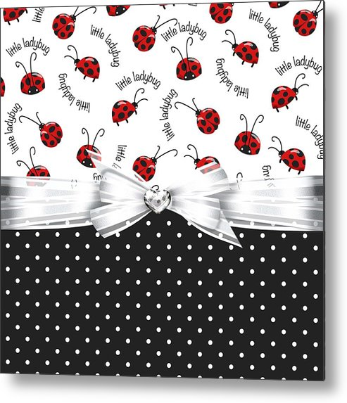 Polka Dots Metal Print featuring the digital art Little Ladybugs by Debra Miller