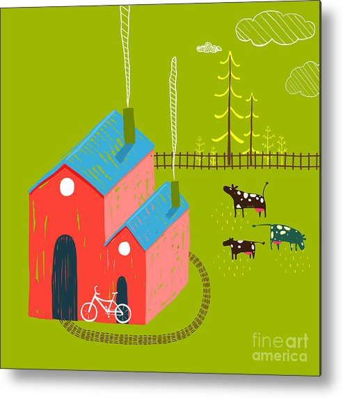 Small Metal Print featuring the digital art Little Village House Rural Landscape by Popmarleo