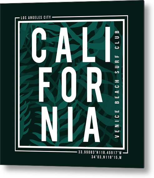 9aa4ca61 Art Metal Print featuring the drawing Los Angeles, California Surf  Typography For T-shirt