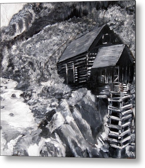 Black Metal Print featuring the painting Lost Colony Slate by Matthew Young