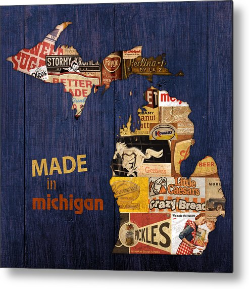 Made In Michigan Products Vintage Map On Wood Kelloggs Better Made Faygo Ford Chevy Gm Little Caesars Strohs Pioneer Sugar Lazy Boy Detroit Lansing Grand Rapids Flint Mustang Meijer Olgas Vernors Gerber Kowalski Sausage Corn Flakes Metal Print featuring the mixed media Made In Michigan Products Vintage Map On Wood by Design Turnpike