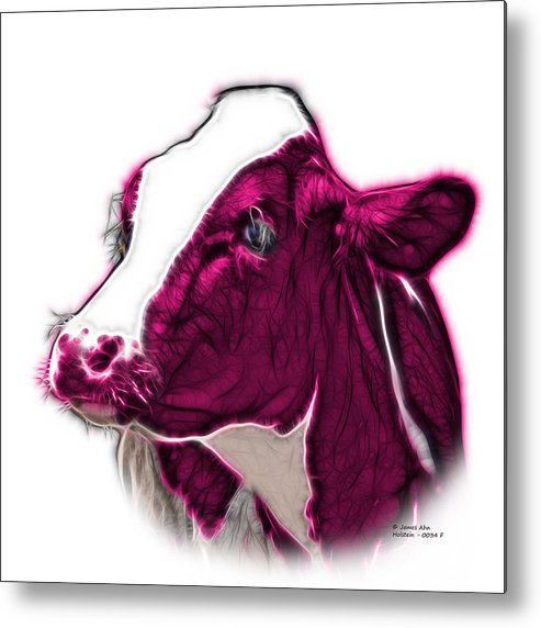 Cow Metal Print featuring the digital art Magneta Cow Holstein - 0034 Fs by James Ahn