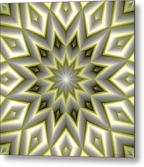 Tibetan Art Metal Print featuring the digital art Mandala 107 Yellow by Terry Reynoldson