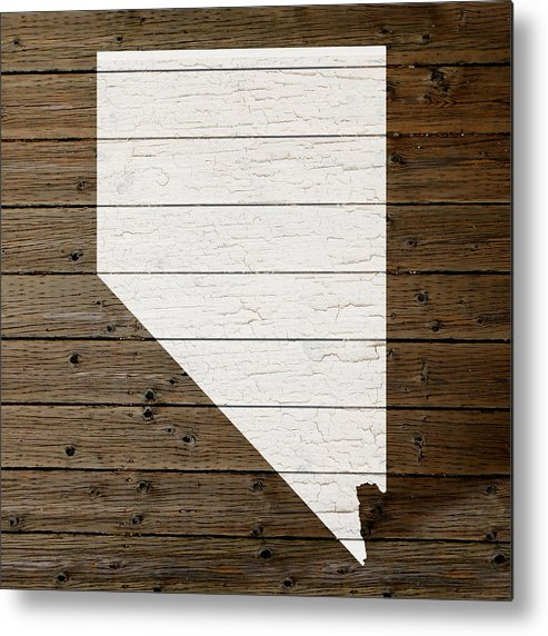 Map Of Nevada State Outline White Distressed Paint On Reclaimed Wood Planks  Metal Print