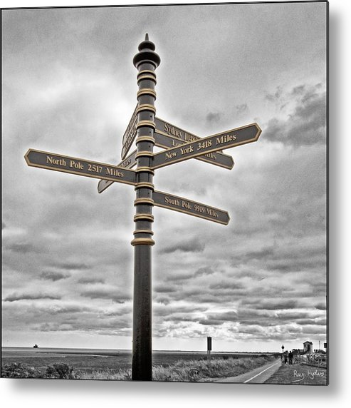 Signpost Metal Print featuring the photograph Meridian Signpost by Ray Hydes