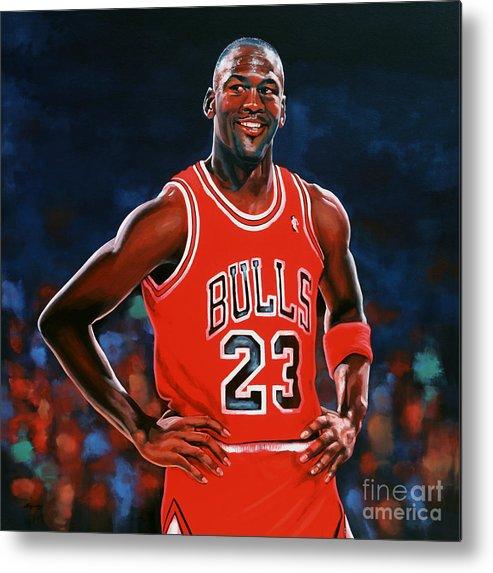 Michael Jordan Metal Print featuring the painting Michael Jordan by Paul Meijering