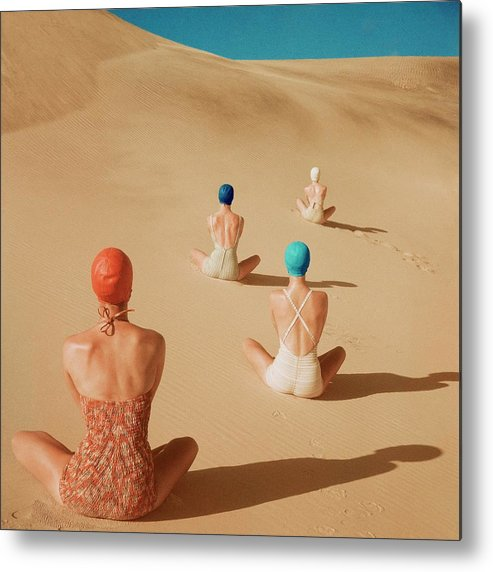 Fashion Metal Print featuring the photograph Models Sitting On Sand Dunes by Clifford Coffin