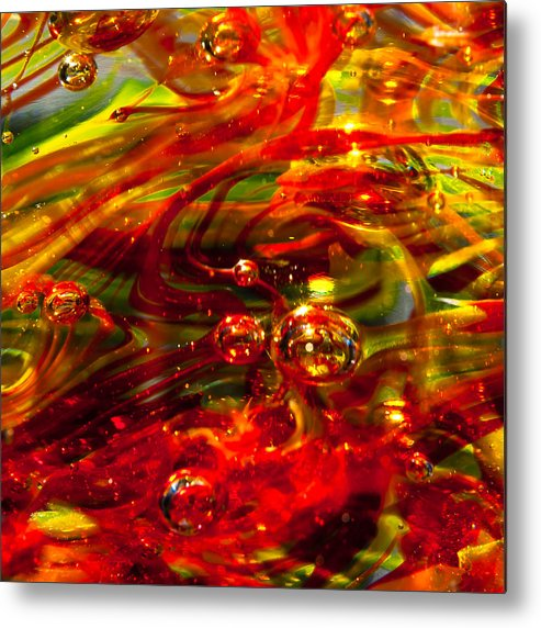 Glass Metal Print featuring the photograph Molten Bubbles by David Patterson