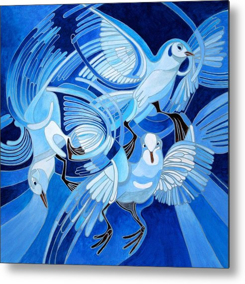 Pigeon Metal Print featuring the painting Muge's Pigeons by Taiche Acrylic Art