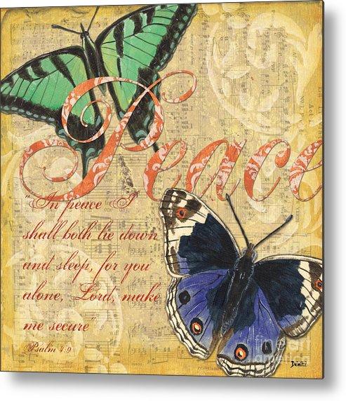 Butterflies Metal Print featuring the painting Musical Butterflies 2 by Debbie DeWitt
