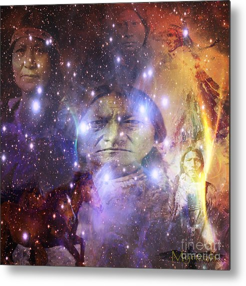 Mynzah Pleiadian Raven Starseeder Sitting Bull Mourning Dove Lakota Native American Horses Galaxy Universe Oneness Metal Print featuring the digital art Native One by Mynzah Osiris