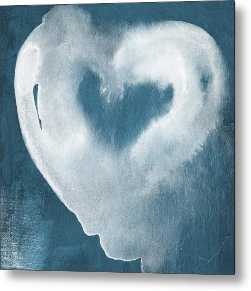 Love Metal Print featuring the mixed media Navy Blue And White Love by Linda Woods