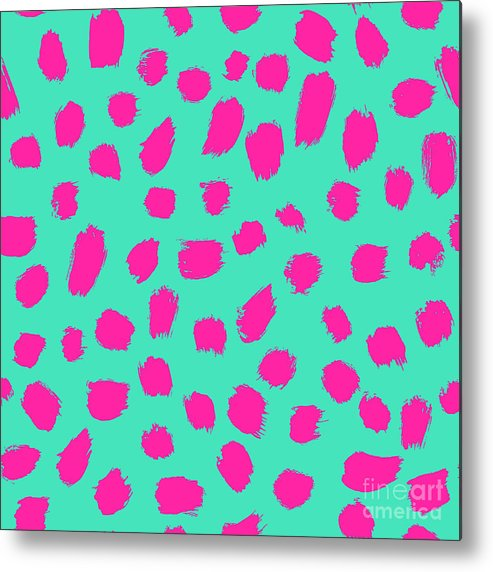 Gift Metal Print featuring the digital art Neon Brush Seamless Pattern Background by Faitotoro