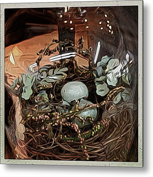 Angel Metal Print featuring the digital art Nest In Cloche by Jen Brooks Art