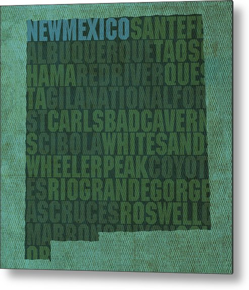 New Mexico Word Art State Map On Canvas Carlsbad Caverns Albuquerque Las Cruces Taos Sante Fe Metal Print featuring the mixed media New Mexico Word Art State Map On Canvas by Design Turnpike