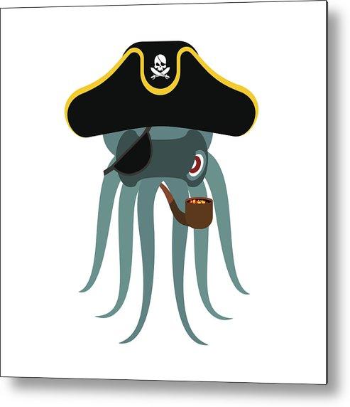 Octopus Pirate  Poulpe Buccaneer  Eye Patch And Smoking Pipe  Pirates Cap   Bones And Skull  See Animal Filibuster Metal Print