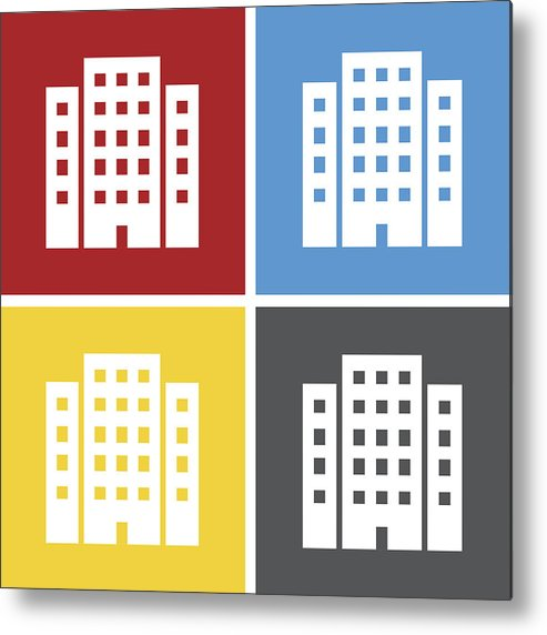 Office Building Icon On Square Buttons  Metal Print