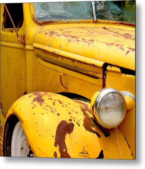 Truck Metal Print featuring the photograph Old Yellow Truck by Art Block Collections
