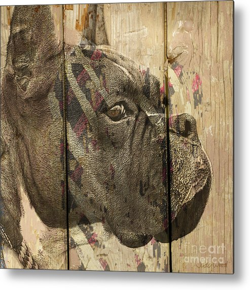 Boxer Dog Metal Print featuring the digital art On The Fence by Judy Wood
