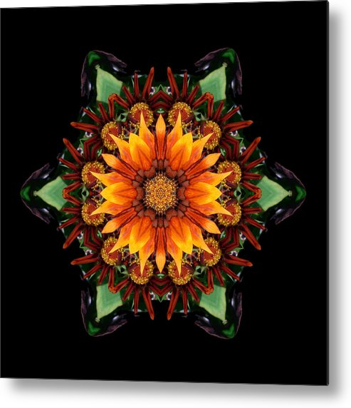 Flower Metal Print featuring the photograph Orange Gazania IIi Flower Mandala by David J Bookbinder
