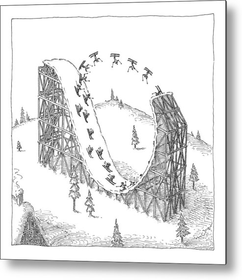 Skiing Metal Print featuring the drawing People Ski On A Circular Ski Ramp That Resembles by John O'Brien