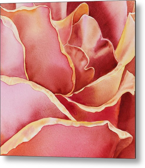 Rose Metal Print featuring the painting Petals Petals IIi by Irina Sztukowski