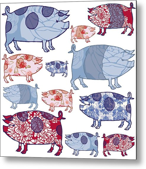 Pig Metal Print featuring the painting Piggy In The Middle by Sarah Hough