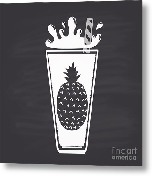 Blackboard Metal Print featuring the digital art Pineapple Juice Drawn In Chalk In A by Anat om