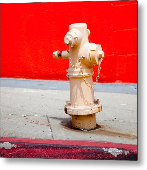 Hydrant Metal Print featuring the photograph Pink Fire Hydrant by Art Block Collections