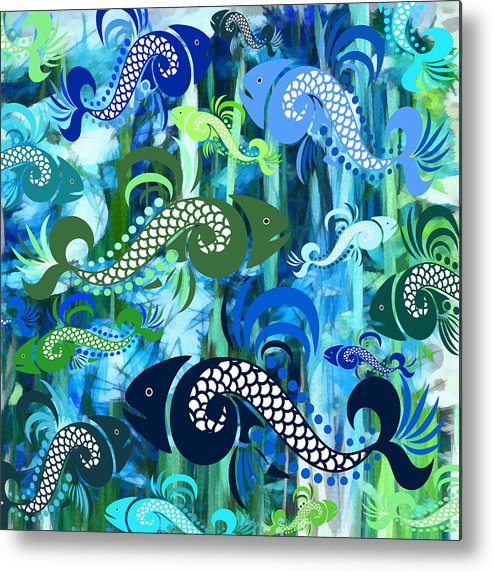 Fish Metal Print featuring the mixed media Plenty Of Fish In The Sea 1 by Angelina Tamez