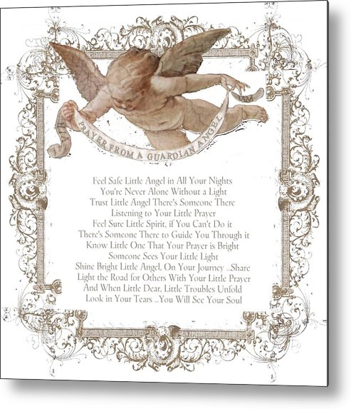 Prayer From A Guardian Angel Prayer Baby Angel Metal Print By Km