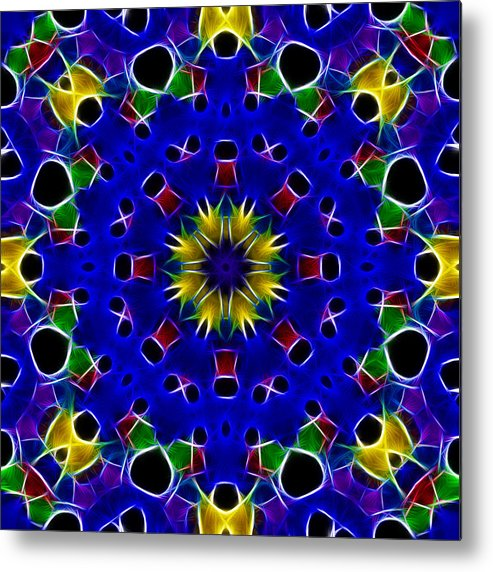 Primary Colors Metal Print featuring the photograph Primary Colors Fractal Kaleidoscope by Kathy Clark
