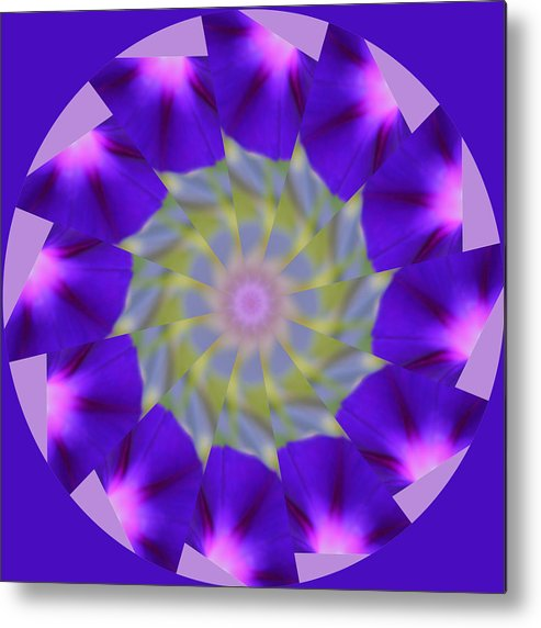 Purple Metal Print featuring the photograph Purple Morning Glory Kaleidoscope by Kristy Jeppson
