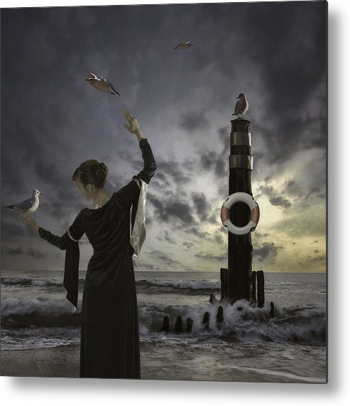 Woman Metal Print featuring the photograph Queen Of The Seagulls by Joana Kruse