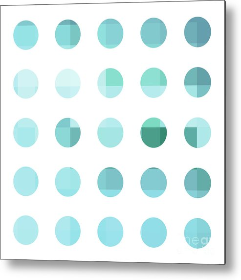 Abstract Metal Print featuring the painting Rainbow Dots Aqua by Pixel Chimp
