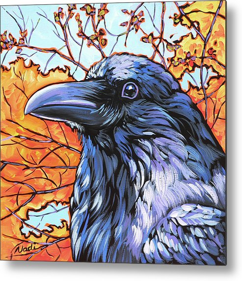 Raven Metal Print featuring the painting Raven Head by Nadi Spencer