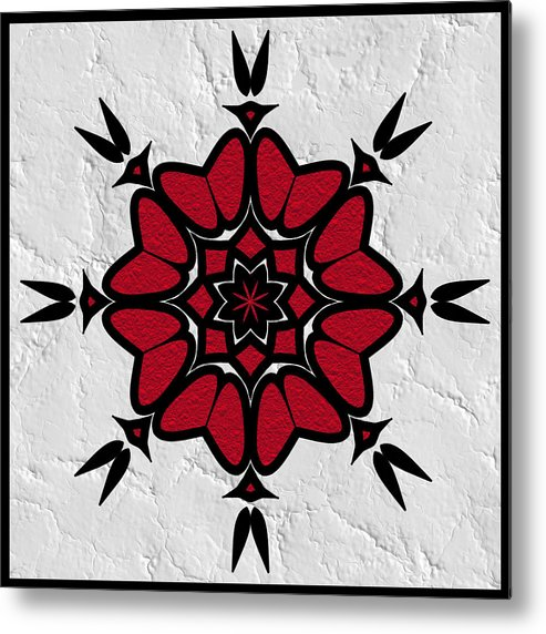 Red Black & White Metal Print featuring the digital art Red And Black On White by Pat Follett