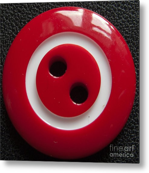 Colour Fine Art Pictures Metal Print featuring the photograph Red Button Close Up by Peter Oliver