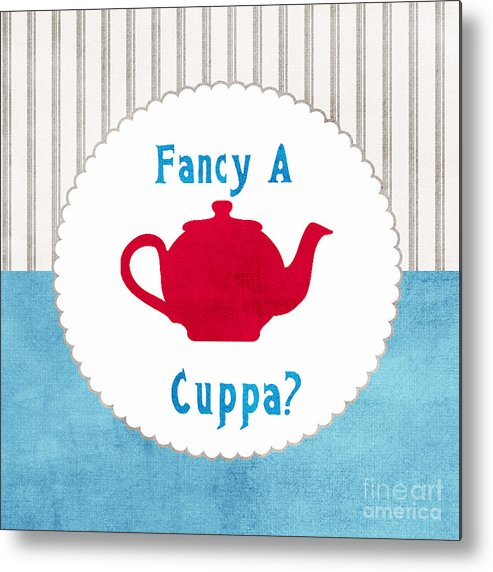 Tea Metal Print featuring the painting Red Teapot by Linda Woods