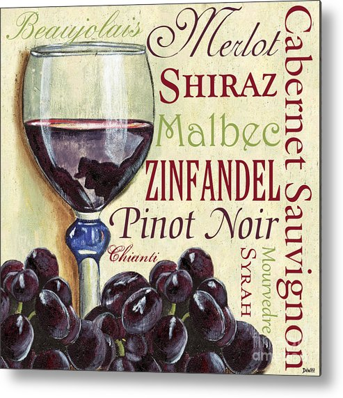 Wine Metal Print featuring the painting Red Wine Text by Debbie DeWitt